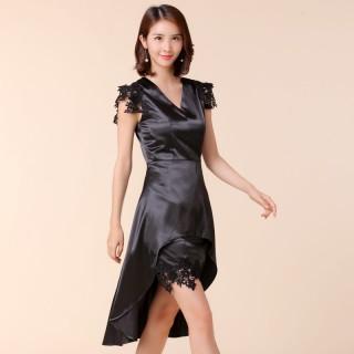 9965黑色 宴会主持晚礼服裙无袖背心显腰大码燕尾礼服裙蕾丝中长连衣裙