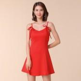 9675红色  时尚宴会性感吊带露背小红裙大码沙滩裙显瘦针织小礼服短裙A字裙