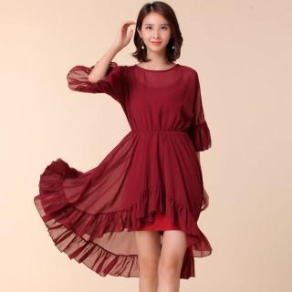 9890紫红色 时尚不规则圆领雪纺两件套连衣裙荷叶袖松紧腰宽松大码连衣裙(配吊带裙)