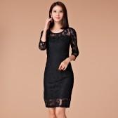 9966黑色  气质修身韩版大码女装网纱绣花中长款连衣裙九分袖打底裙宴会裙显瘦