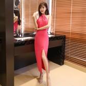 9969玫红  宴会性感气质时尚长款露肩优雅针织小礼服修身长裙大码女装