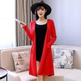 9680红色  四季百搭风衣外套长款针织开衫大码披肩长袖薄款长上衣