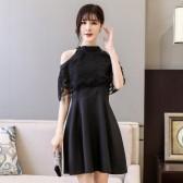 9893黑色  时尚宴会晚礼服优雅短款学生聚会派对姐妹团伴娘挂脖大码小礼服