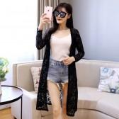 9681黑色   防晒薄款加长款蕾丝长袖大码针织衫开衫披肩空调小外套