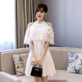 9893白色  时尚宴会晚礼服优雅短款学生聚会派对姐妹团伴娘挂脖大码小礼服