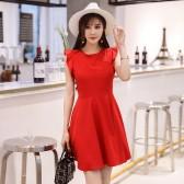 9970红色  优雅露背无袖修身坎肩大码中裙姐妹小礼服连衣裙显瘦减龄