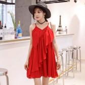9971红色  海边度假性感吊带大码连衣裙大摆裙雪纺V领短裙