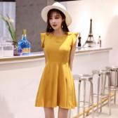 9970姜黄色  优雅露背无袖修身坎肩大码中裙姐妹小礼服连衣裙显瘦减龄