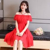 9894红色  夏季清新一字肩小吊带性感减龄大码沙滩裙短裙出游裙