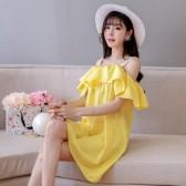 9682黄色   性感雪纺吊带沙滩裙海边巴厘岛一字领大码短裙