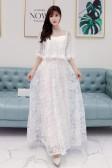 6601款白色   晚宴高贵优雅晚礼服遮肩网纱大码长款大气显瘦小礼服
