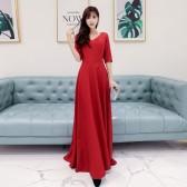 6600款黑色  时尚唯美高档显瘦中袖五分袖V领大码晚礼服长款连衣裙