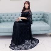 6601款黑色   晚宴高贵优雅晚礼服遮肩网纱大码长款大气显瘦小礼服
