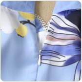 9976款浅蓝色  改良旗袍中国风中袖靓丽淑雅中长款蓝色大码雪纺连衣裙