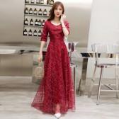6606红色  高贵优雅时尚繁星点缀中袖长裙名媛气质连衣裙