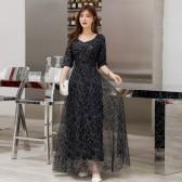 6606藏蓝色  高贵优雅时尚繁星点缀中袖长裙名媛气质连衣裙