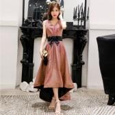 9691款  绯红色  公主名媛高雅气质燕尾晚礼服显瘦姐妹礼服裙