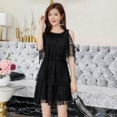 9982# 黑色  露肩蕾丝新款小清新仙女连衣裙裙短款蛋糕裙