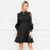 9695# 黑色 长袖气质黑白仙气高雅小礼服秋冬连衣裙