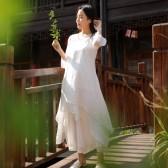 98586白色  休闲中国风禅意汉服宽松连衣裙三件套(连衣裙+阔腿裤+小吊带)